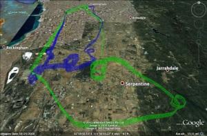 Area Solo 3D GPS Google Earth flight track
